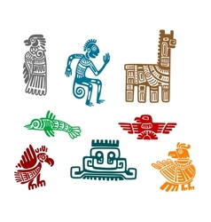 Aztec and maya ancient drawing art vector image