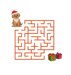 christmas childrens game puppy in the maze vector image