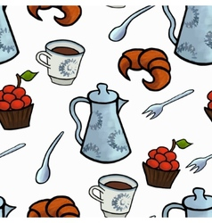 English tea ceremony seamless pattern vector image vector image