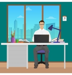 Man office manager in office interior vector image