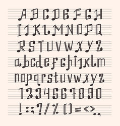 musical decorative notes alphabet font hand mark vector image vector image