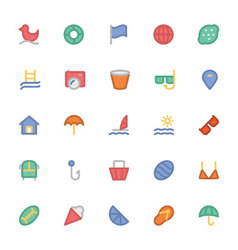 Summer Colored Icons 5 vector image vector image