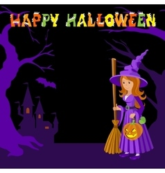 Background with wich castle bat pumpkin and vector image vector image