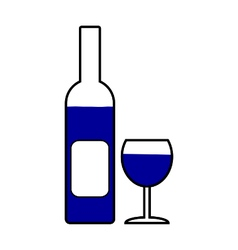Bottle and glasse symbol icon vector image vector image