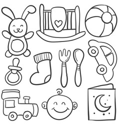 doodle of element baby collection vector image vector image