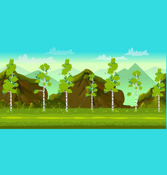 Forest and stones 2d game landscape for games vector