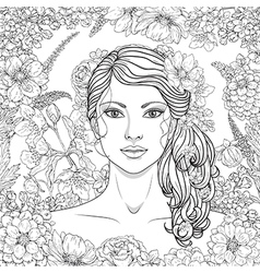 girl flowers outline4 vector image vector image