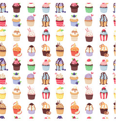 set of cute cupcakes and muffins seamless vector image vector image