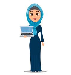 Arabic woman holding laptop cute businesswoman vector