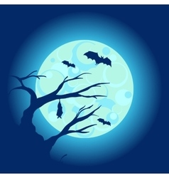 Halloween night background with dry tree and bats vector image