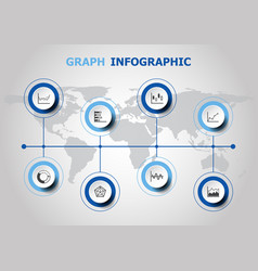 infographic design with graph icons vector image