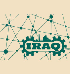 Iraq word build in gear vector
