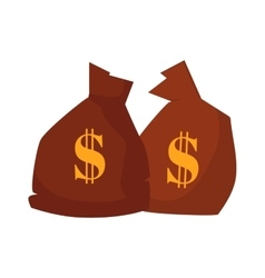 Money bag or sack cartoon style icon with dollar vector image