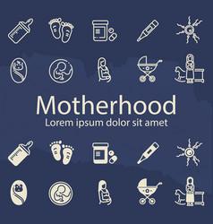 motherhood thin line and outline icons set vector image