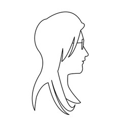 profile head woman with glasses outline vector image