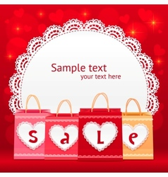 Valentines day shopping bag lacy card vector image vector image
