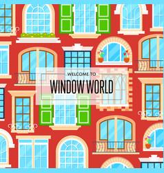 Window world background in flat design vector