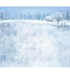 winter lake house vector image