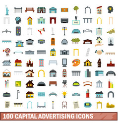 100 capital advertising icons set flat style vector