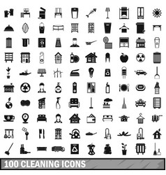 100 cleaning icons set simple style vector