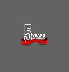 5 years anniversary line style white color vector