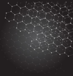 Abstract dark background with hexagon grid vector