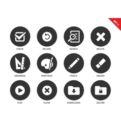Application buttons icons on white background vector