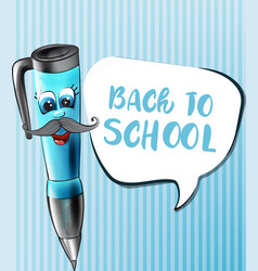 back to school pen cartoon character funny vector image