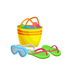 Beach bag with towels goggles for underwater vector