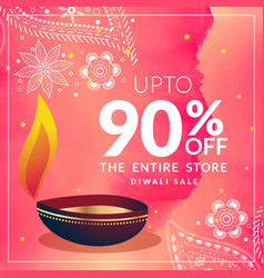 beautiful diwali discount banner template with vector image
