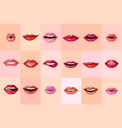 beautiful female mouth set red lips with vector image