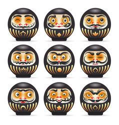 Black emotional daruma dolls set vector