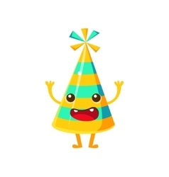Blue And Yellow Stripy Party HatHappy Birthday vector