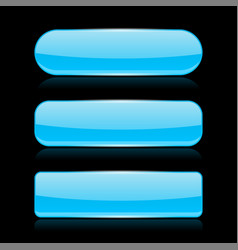 blue glass buttons on black background vector image