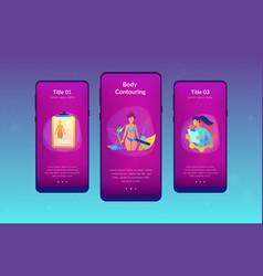 Body contouring app interface template vector