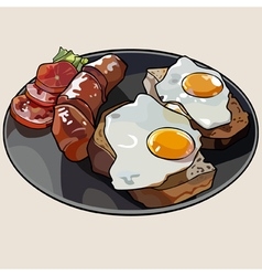 Breakfast plate with scrambled eggs and sausage vector
