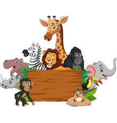 cartoon wild animal with blank signboard vector image