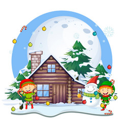 Christmas eleves and snowman by cottage vector