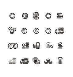 coins line icons money tax earn and cash vector image