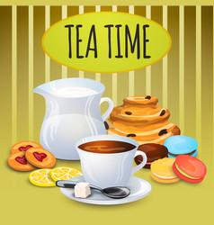 Collection tea with milk pot vector