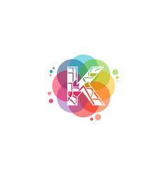 Colorful pixel k letter logo k techno logo vector