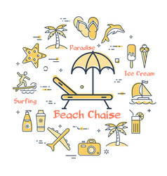 concept of summertime and beach chaise icon vector image
