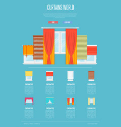 Curtains world concept in flat design vector