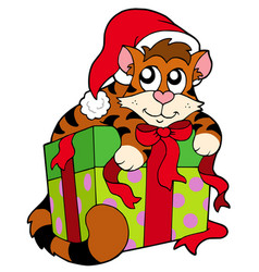 Cute cat in santas hat vector