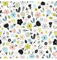 cute flowers in scandinavian style seamless patter vector image
