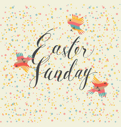 Easter sunday greeting card with colored birds vector