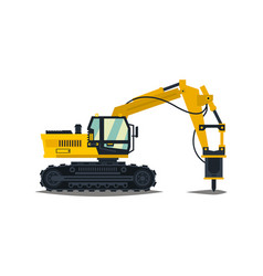 Excavator with his hammer hydraulic crusher vector