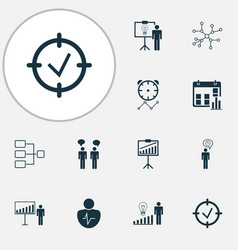 executive icons set with communication business vector image