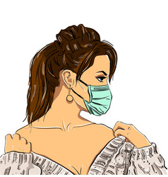 Fashion women in medical mask on white background vector