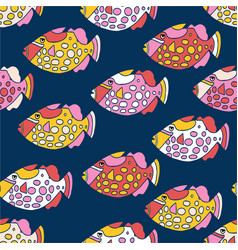 Fishes seamless pattern colorful ocean vector